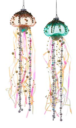 Coastal Beaded Jellyfish Glass and Ribbons Christmas Holiday Ornaments