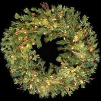 Pre-Lit Mixed Country Pine Wreath with 100 Clear Dura-Lit Lights, 36-Inch, Green