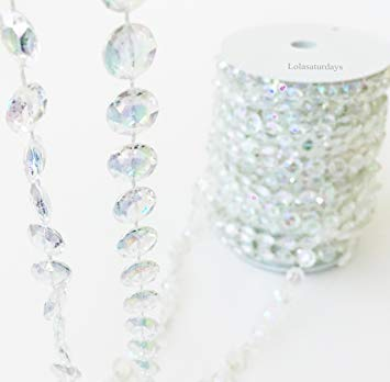 Faux Crystal Beaded Garland roll- 99 ft Long