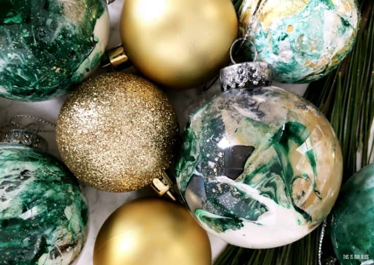 DIY Dollar Store Marbled Ornaments