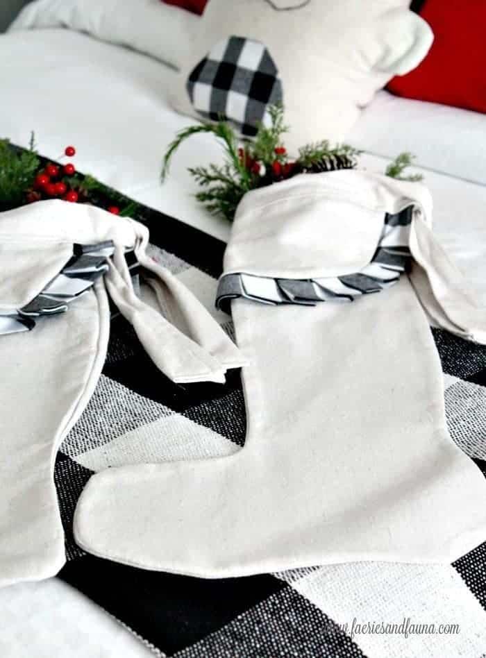 DIY Christmas Stockings with Buffalo Check