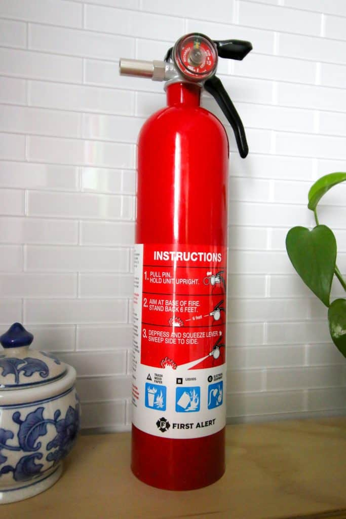 fire extinguisher in the laundry room