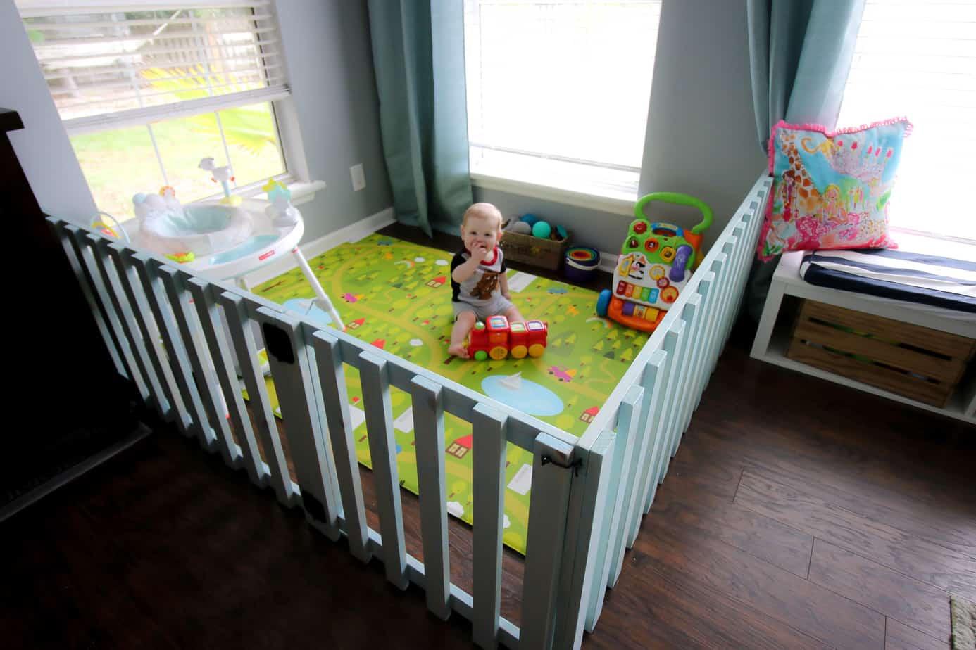 DIY Wood Baby Playpen