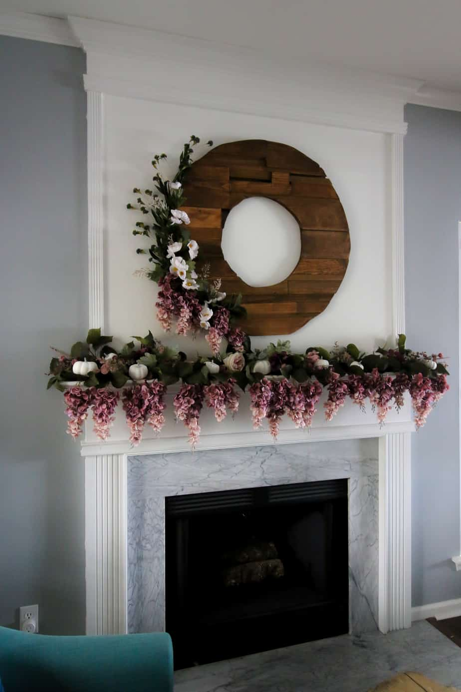 Fall Mantel Decor with Purple Florals