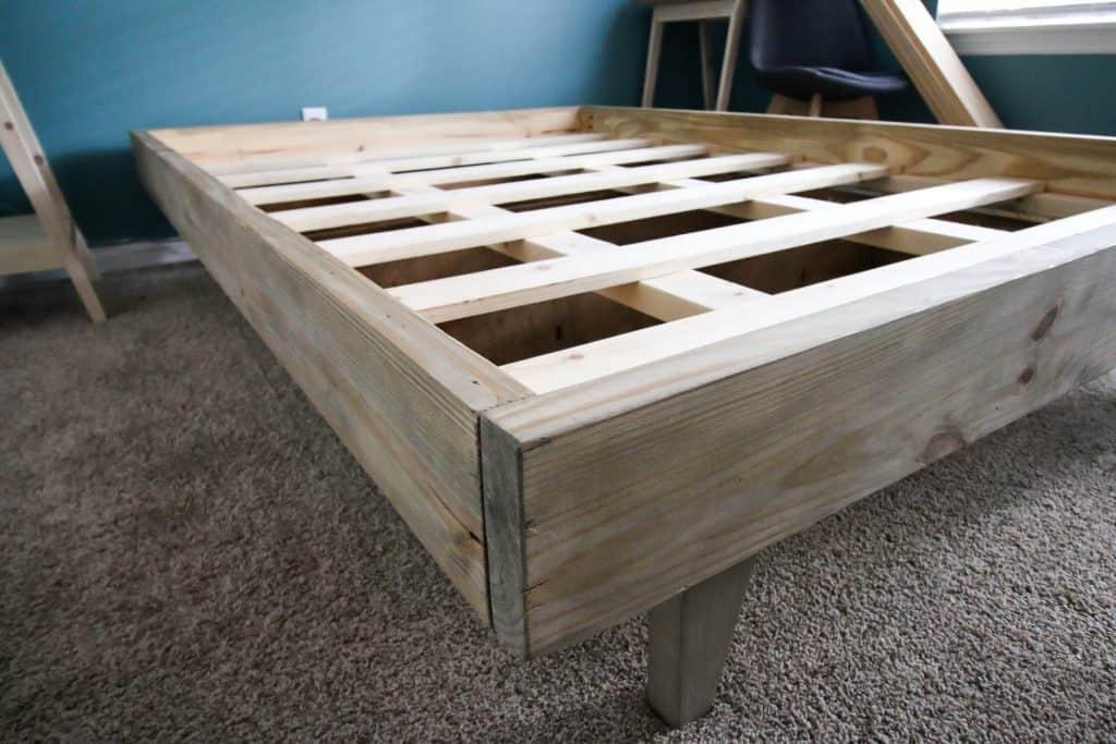Completed shot of DIY platform bed
