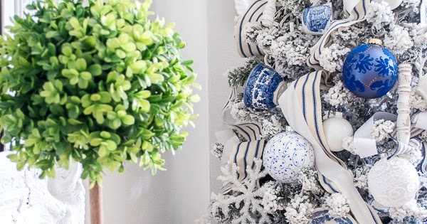 Blue and White French Farmhouse Christmas Tree