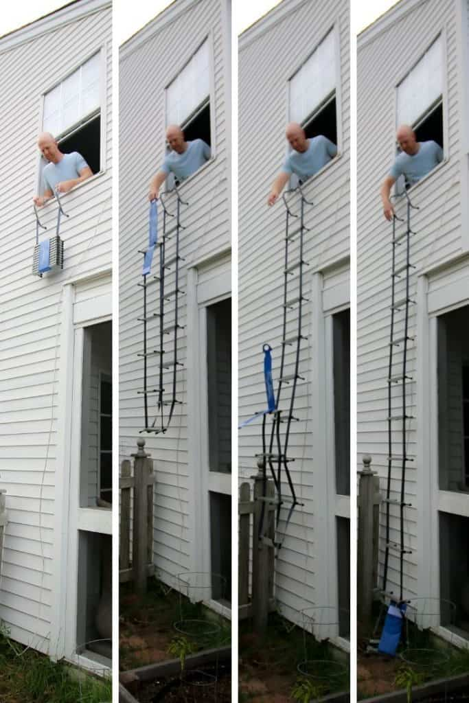 first alert fire escape ladder in use