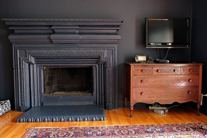 Our Hale Navy Walls and Matching Fireplace and Trim