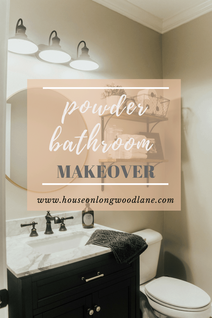 Powder Bathroom Makeover - Wood shelves with metal brackets