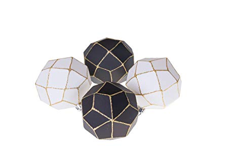 Christmas Ornament Ball Set Black and White with Gold Glitter