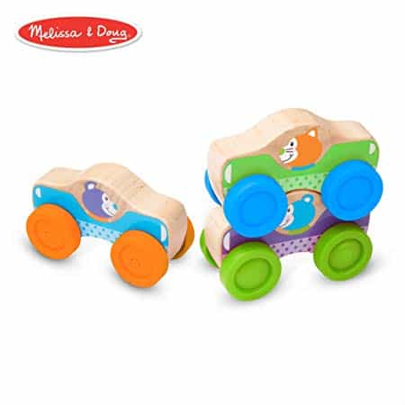 Melissa & Doug First Play Wooden Animal Stacking Cars