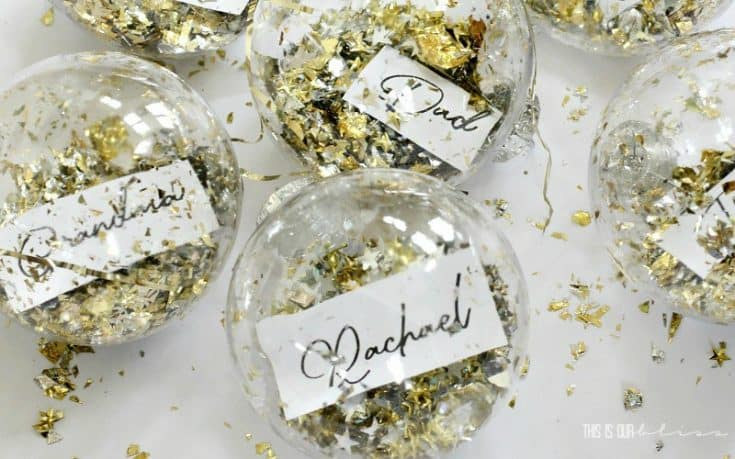DIY Dollar Store Ornament Place Cards