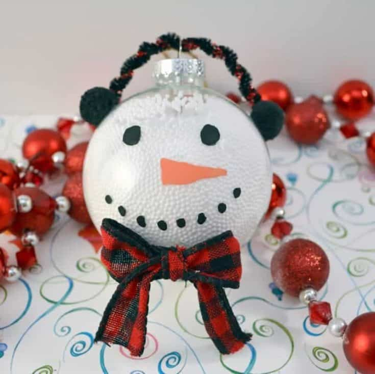 Snowman Christmas Ornament Using Clear Plastic Ball Fillable Ornaments