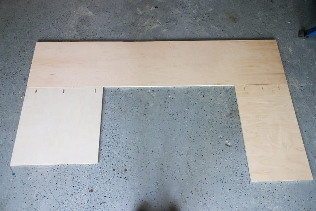 Bottom of desk constructed