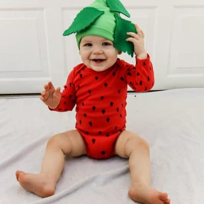 DIY Strawberry Costume for a Baby