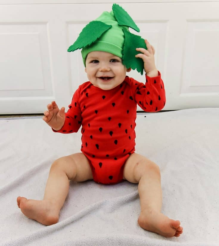 DIY Strawberry Baby Onesie Costume