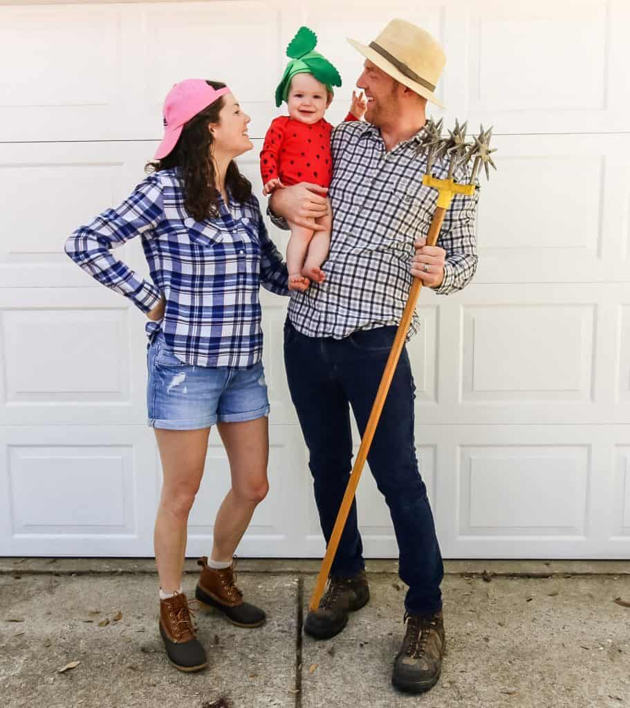 DIY family Halloween costume - strawberry and farmers