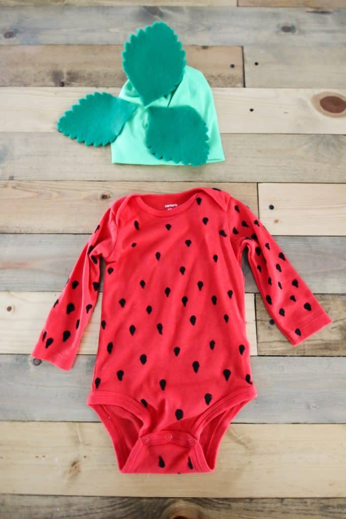 DIY Strawberry Baby Onesie Costume