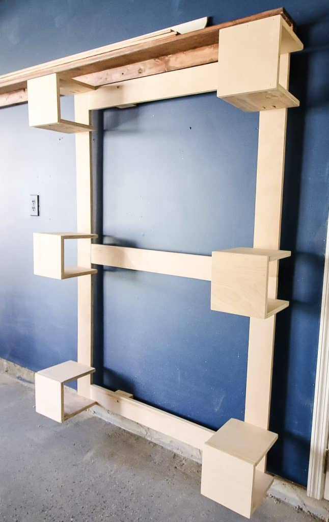 Empty vertical scrap wood storage unit