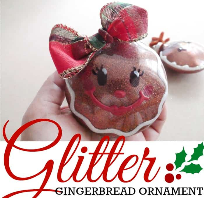 Glitter Gingerbread Ornaments - Clear Plastic Ornament Makeover