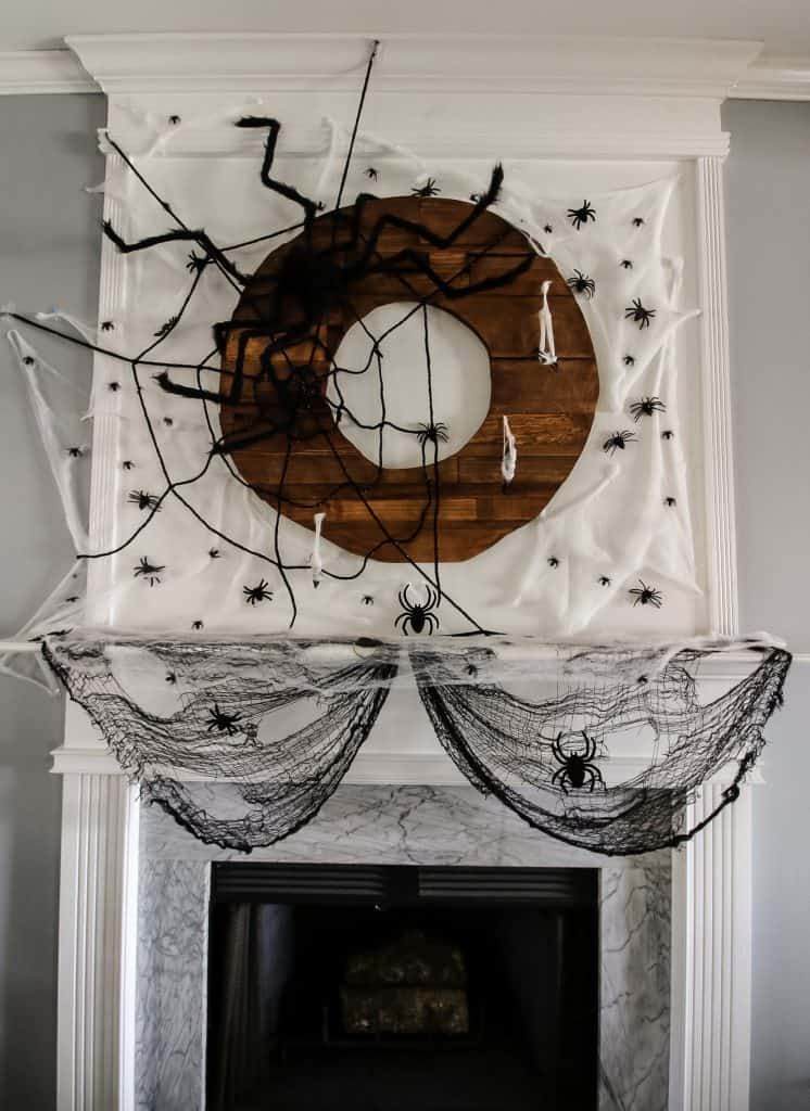 Spooky Spiderweb Halloween Mantel
