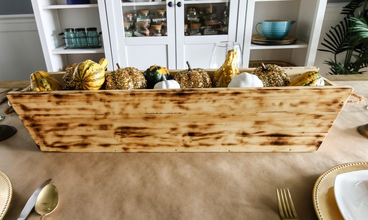 Full shot of DIY wooden trough