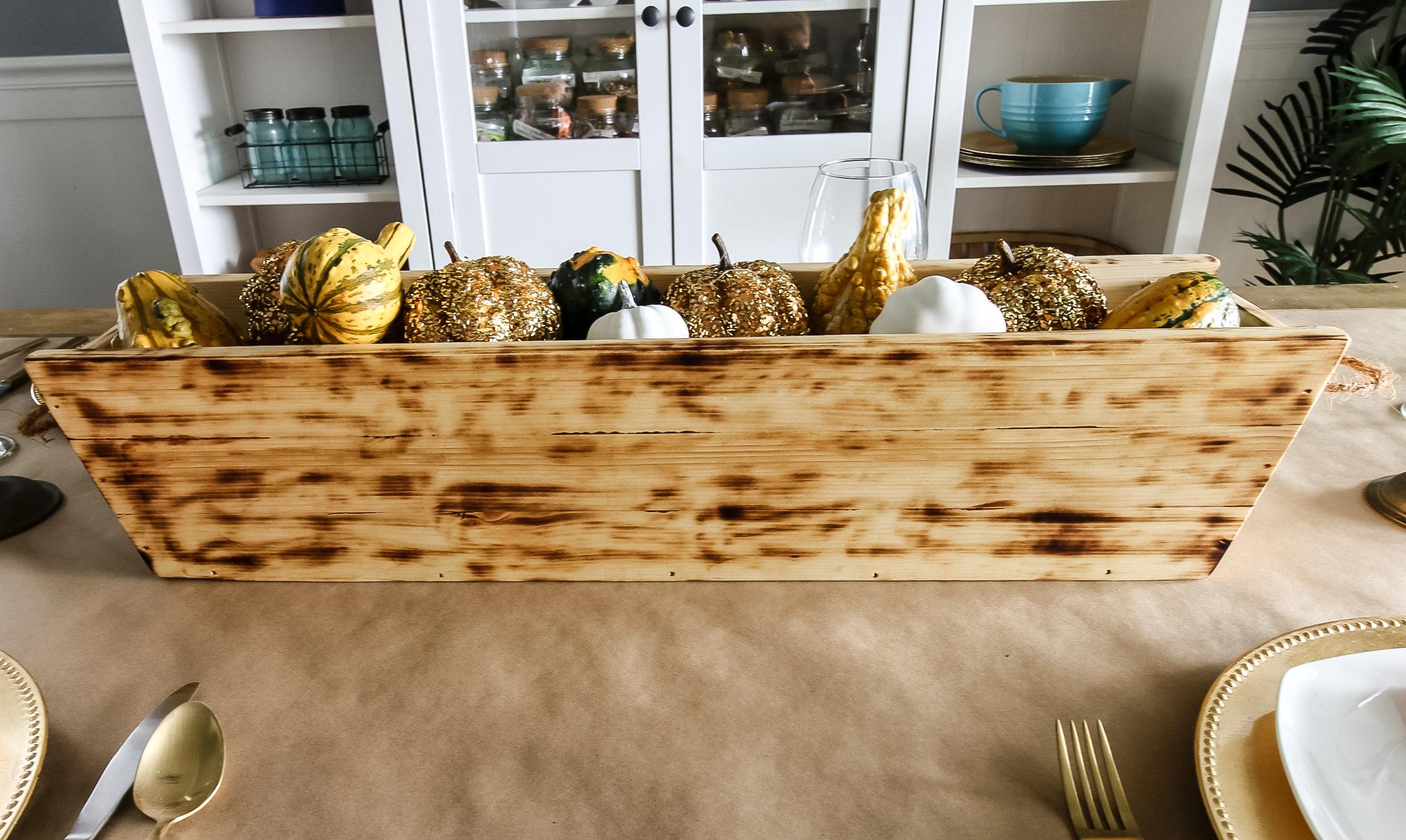 Full shot of DIY wooden trough