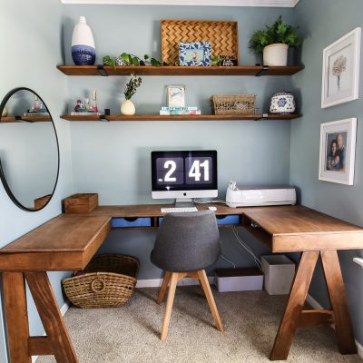 DIY Built-In U-Shaped Desk