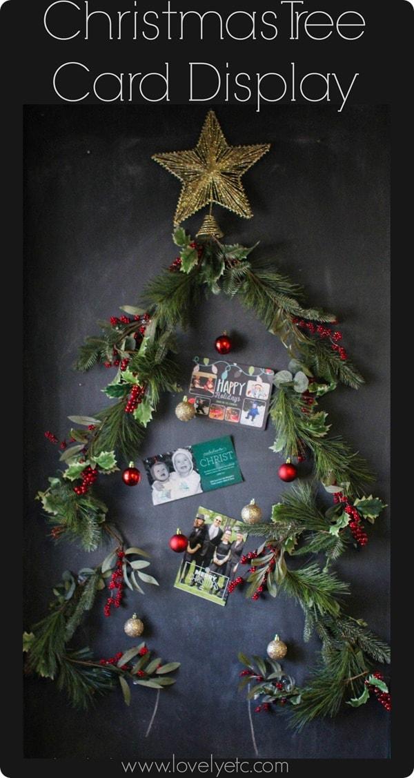 Christmas Tree Greenery Card Display