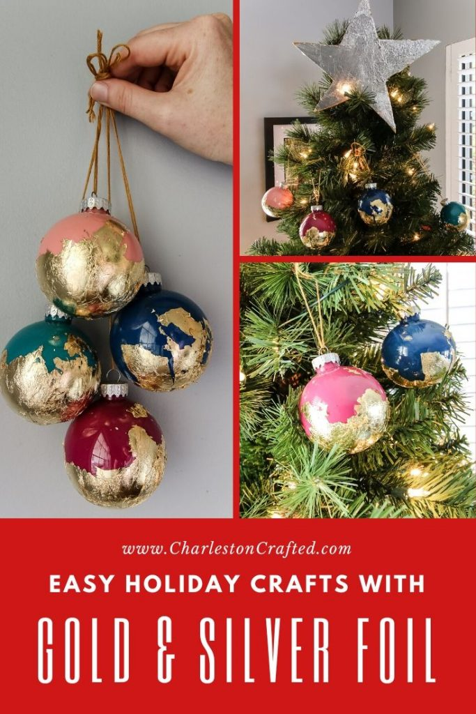 Gold and silver foil holiday crafts