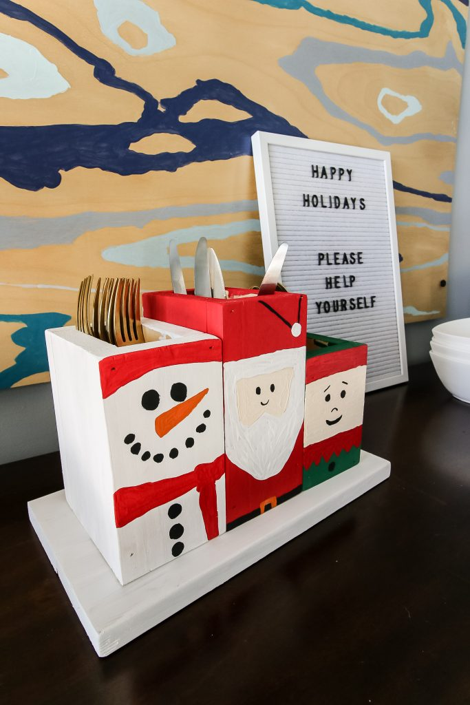 Holiday Painted Silverware Caddy