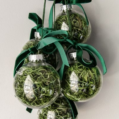 How to make DIY Moss Ball Christmas Ornaments