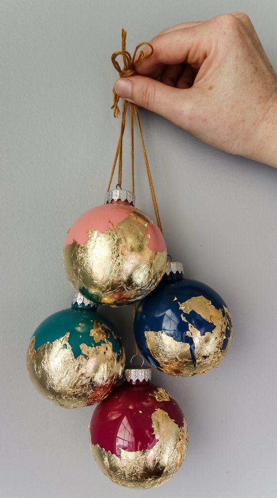 DIY gold foil ornament balls