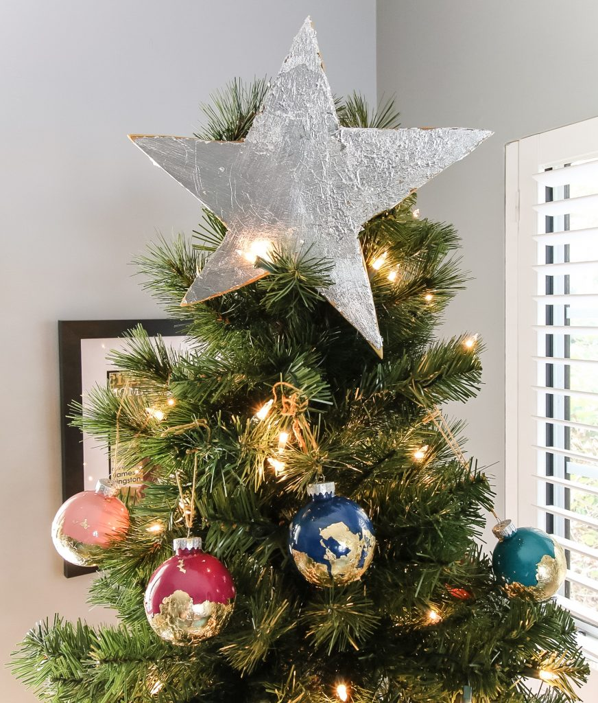 DIY Silver foil Christmas tree topper