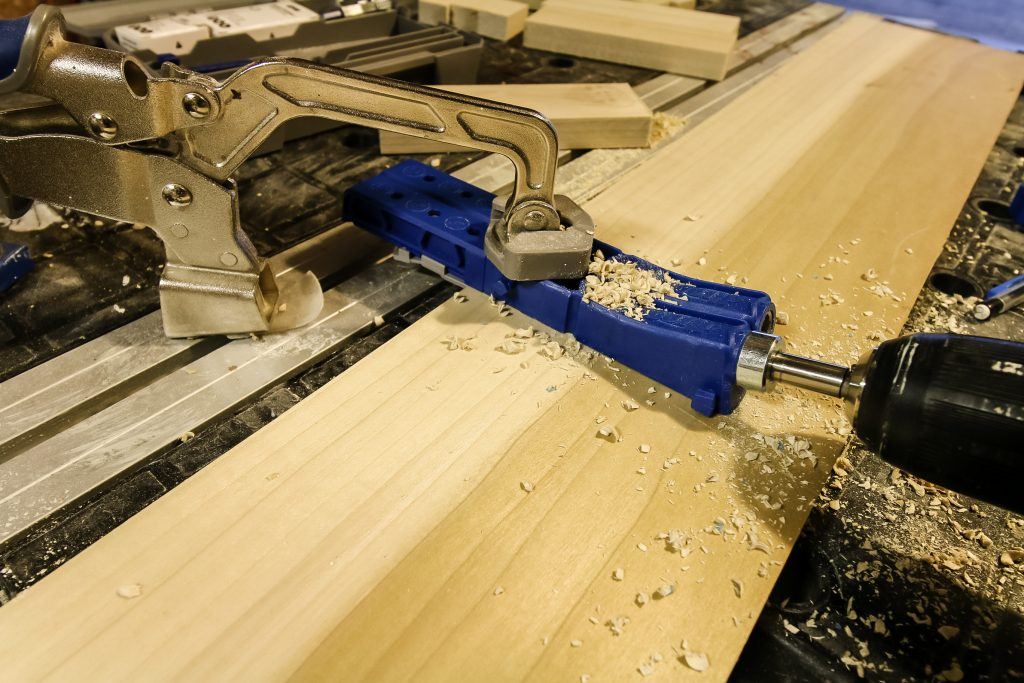 Drilling holes in base with Kreg Jig