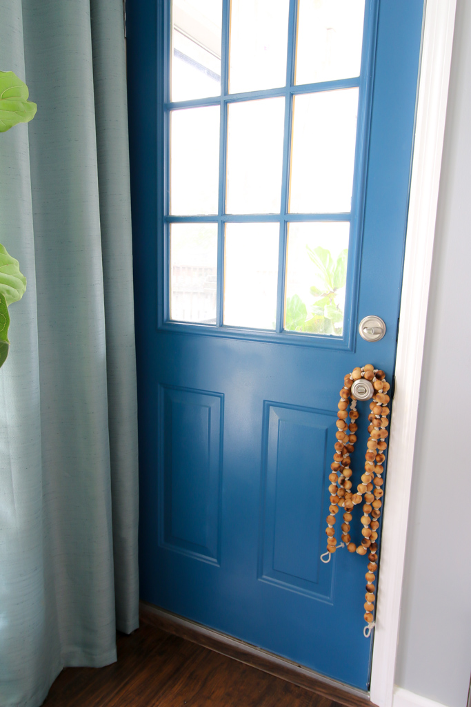 Wood Bead Garland door knob