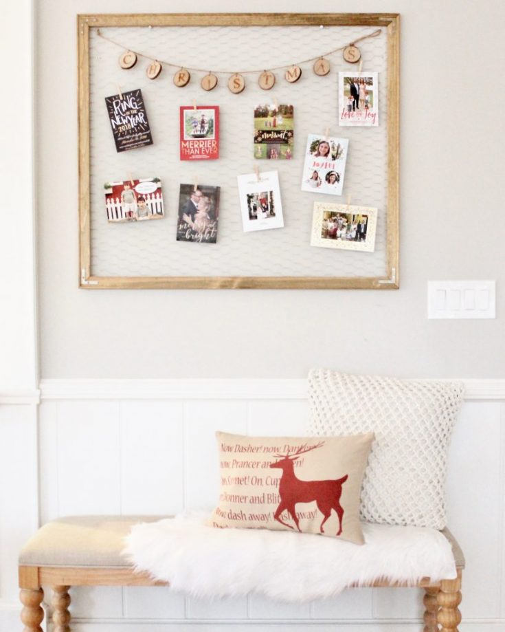 DIY Chicken Wire Christmas Card Display
