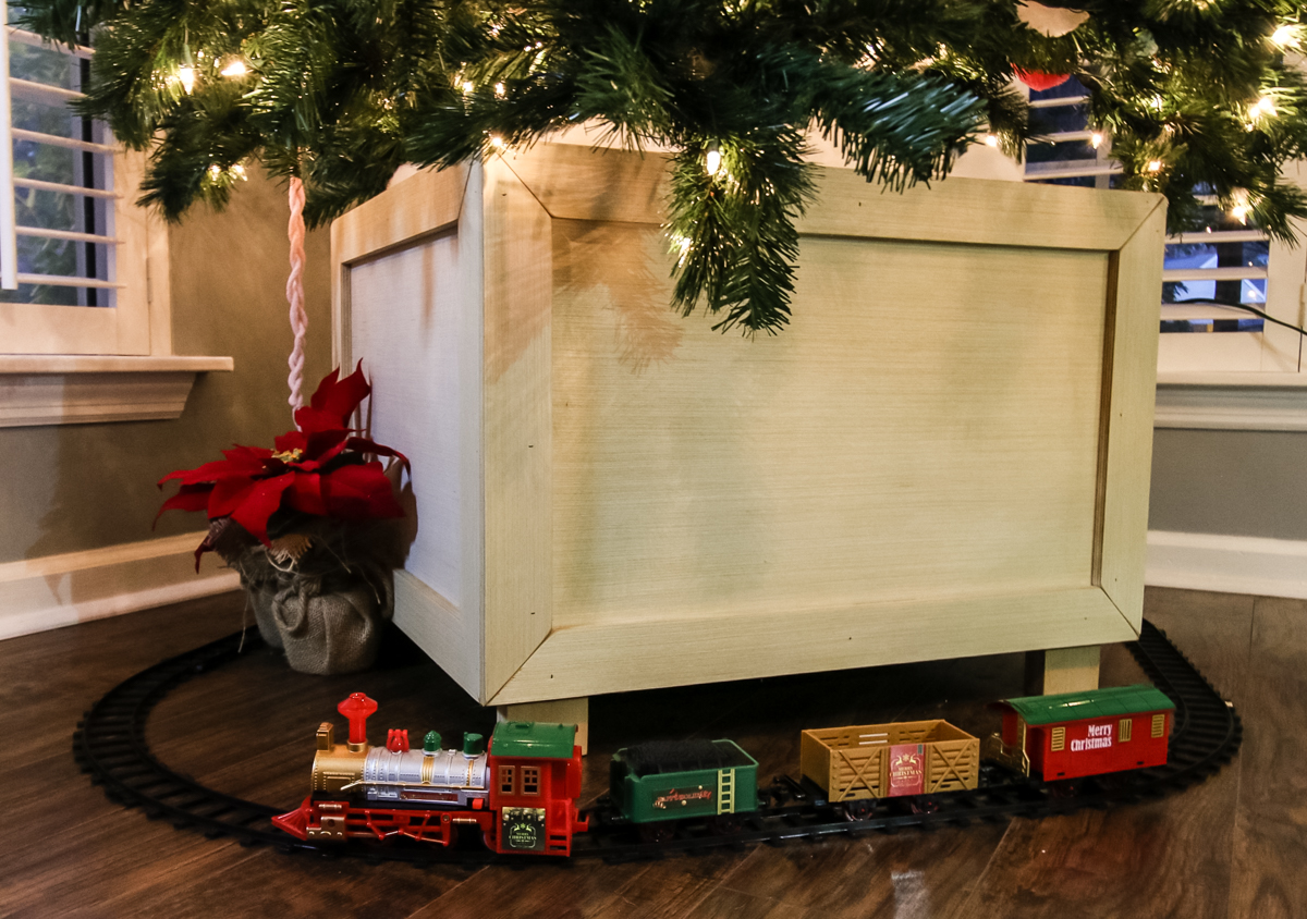 Styled Christmas tree box stand