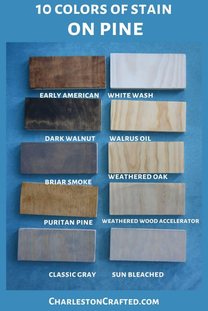 10 colors of wood stain on pine