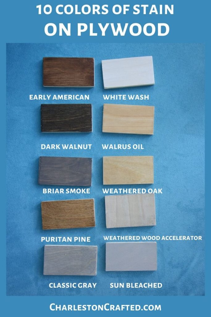 10 colors of wood stain on plywood