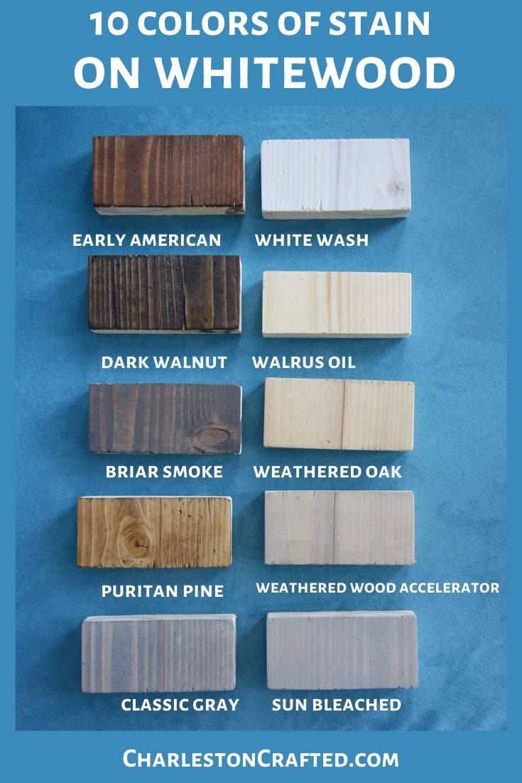 10 colors of wood stain on whitewood