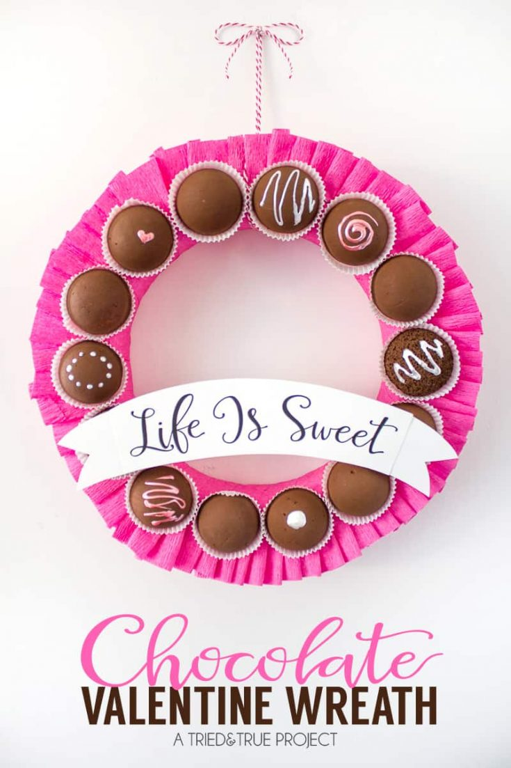 Chocolate Valentine's Day Wreath - Tried & True Creative