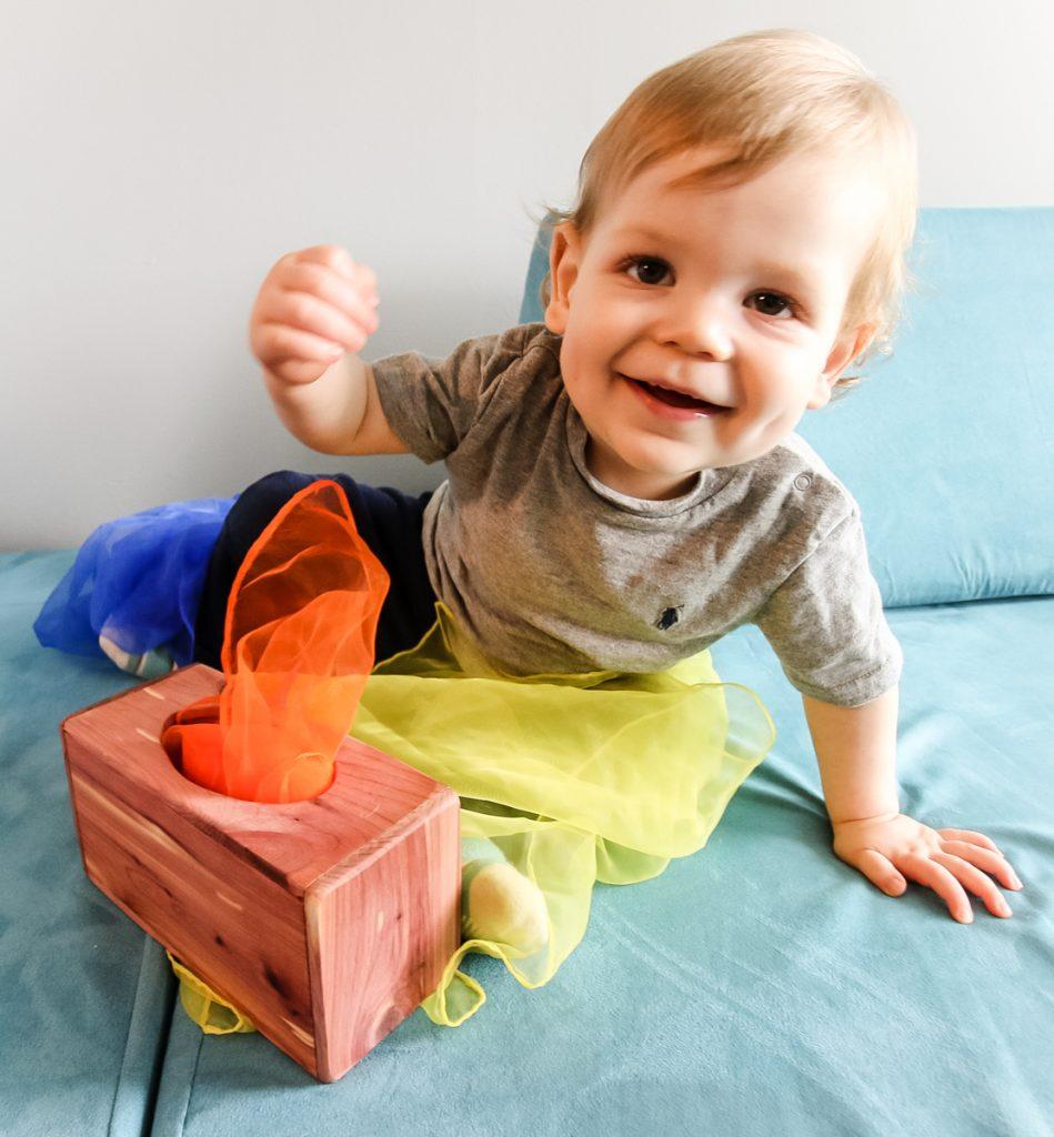 Playing with DIY magic tissue box
