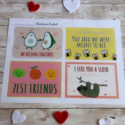FREE Printable Funny Valentines - Avocados, Sloths, Citrus, and Bees!