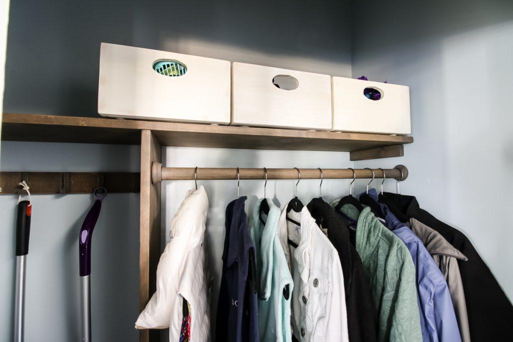 DIY wooden bins in top of closet