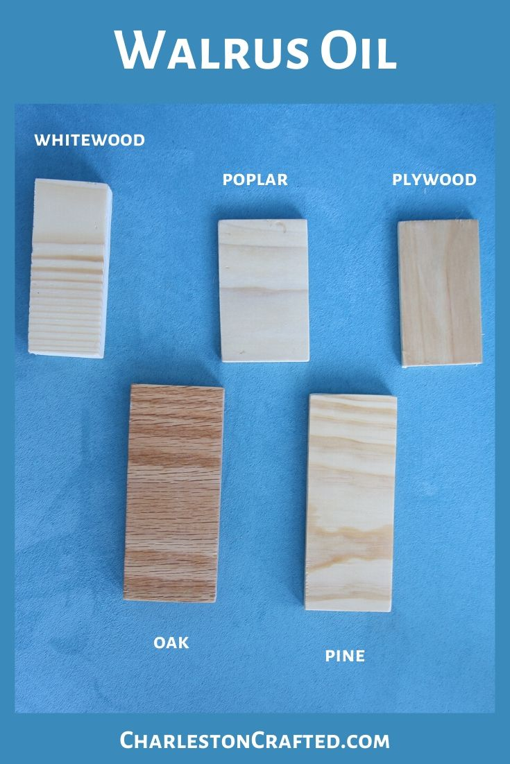 Walrus Oil on five types of wood - pine, plywood, oak, whitewood, poplar