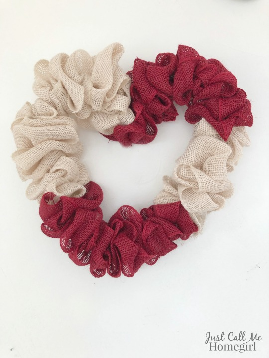 Easy Burlap Heart Wreath