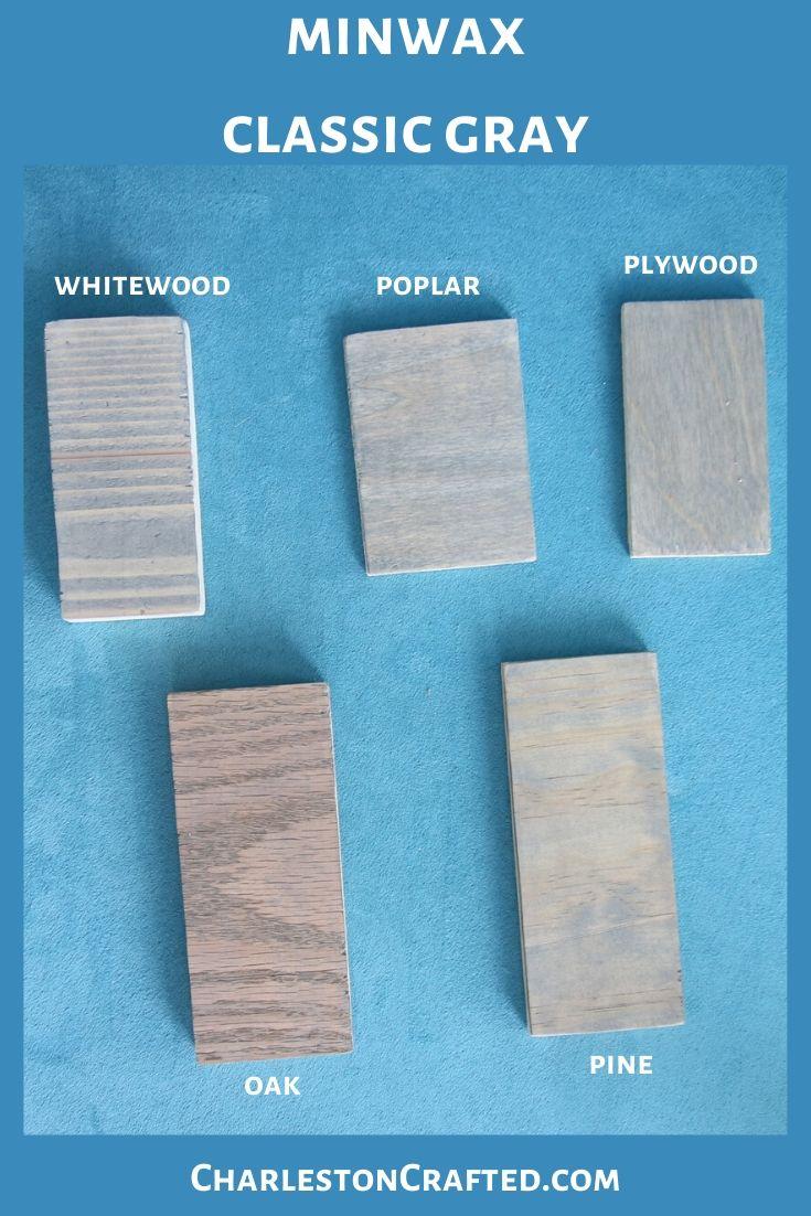 minwax classic gray wood stain on white wood, poplar, pine, oak, plywood