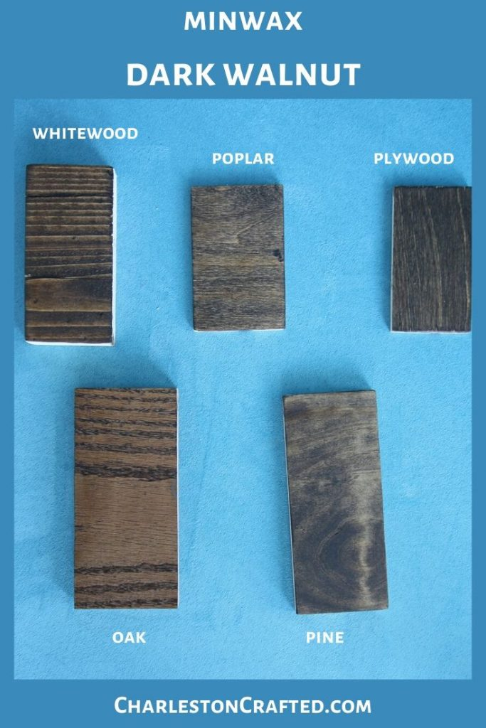minwax dark walnut wood stain on white wood, poplar, pine, oak, plywood