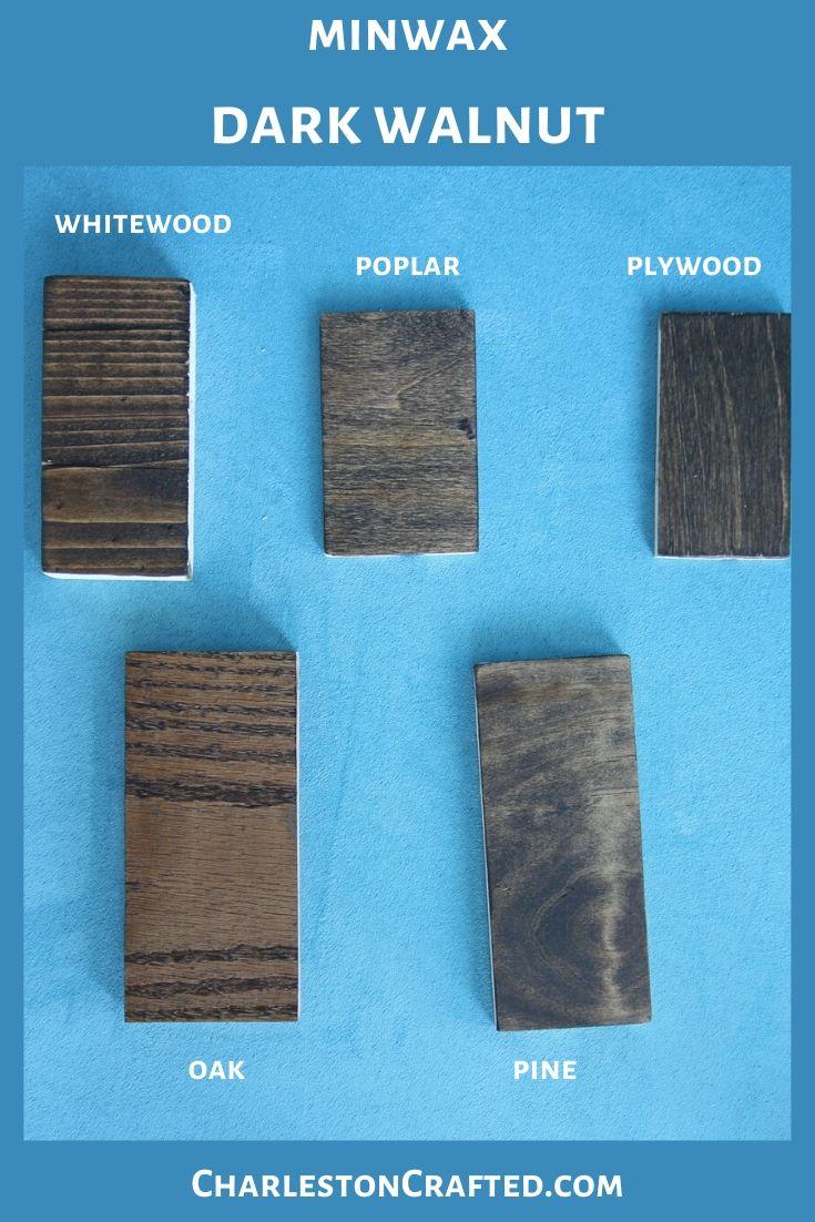 minwax dark walnut wood stain on white wood, poplar, pine, oak, plywood